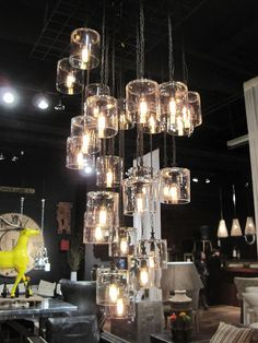 Cascading pendants greige: interior design ideas and inspiration for the transitional home by christina fluegge: Las Vegas World Market