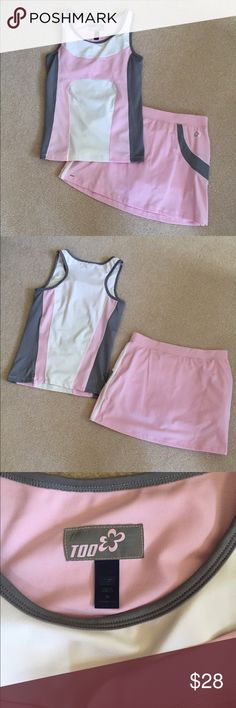 Pink Girls Tennis Outfit Sleeveless top with skort (skirt with shorts underneath). Great condition! Only worn once. Size 16 girls Limited Too Matching Sets