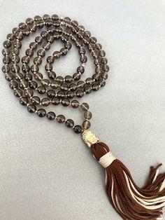 Smoky quartz mala necklace brown quartz mala necklace buddha mala necklace tassel necklace yoga mala meditation necklace 108 beads by Katiaicrafts on Etsy