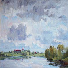 Before the Rain, oil on canvas, 65 x 65 cm, (25″ x 25″), $ 1,600