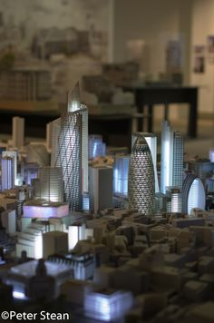 The scale model of a proposed vision for the City of London at 'The Developing City' exhibition on Cannon St