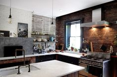 Rustic Kitchen Brick | Contemporary kitchen with rustic brick wall and bianco bello marble ...
