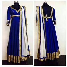 PAKISTANI ANARKALI KAFTAN INDIAN BOLLYWOOD EMBROIDERY WEDDING BLUE GOLD SALWAR #DESIGNER #SalwarKameez
