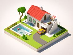 House Isometric Drawing, Isometric Design, 3d Design, Game Design, Modelos Low Poly, Fruits Basket Cosplay, 3d Modellierung, Minecraft Houses Blueprints, 2d Game Art