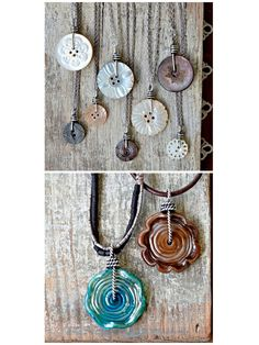 DIY Wire Wrapped Button Necklace by Cindy Wimmer for Craftsy. This is such a go… DIY Wire Wrapped Button Necklace by Cindy Wimmer for Craftsy. Pandora Jewelry, Wire Jewelry, Jewelry Crafts, Jewelry Art, Beaded Jewelry, Vintage Jewelry, Handmade Jewelry, Jewelery, Jewelry Ideas