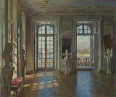 Maurice LOBRE (1862-1951), salon du dauphin à Versailles,1901, 80x93,5 cm, Acheté au salon National des Beaux-arts, Paris. Poussiniste car tout est structuré, calculé. la couleur n'est pas le plus important.