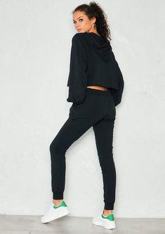 6b862e671dd Missyempire Frances Black Cropped Hoody Loungewear Set.. Black Cropped  Hoody Loungewear Set is the