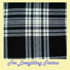 Menzies Black White Tartan Polyviscose Plaid Fabric Swatch
