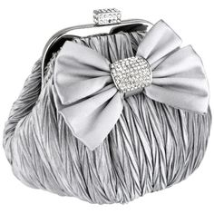 """Price: $42.50   Satin Bow Pleated Rhinestones Brooch & Clasp Frame Baguette #Clutch #EveningBag #Handbag #Purse w/2 Hidden Chains   Color: Silver   Gathered satin fabric with pleated design. Big bow with Rhinestone encrusted knot. Encrusted lift snap closure. 2 Delicate drop-in chain straps provide a convenient carrying option, by hand, cross body or on the shoulder. Approx Dimension: Exterior: 8"""" L x 5"""" H x 5"""" W; Interior: 7.5"""" L x 4.5"""" H x 4.5"""" W; Drop: 8"""" and 22""""."""