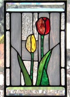 Stained Glass Panel  Red Yellow Tulips Flower Home Window Decor Suncatcher