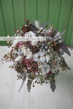 Зимний свадебный букет из хлопка