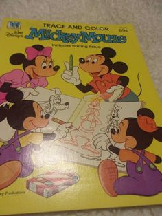 Vintage Walt Disneys Mickey Mouse Trace Color Coloring Book 1981 Whitman