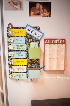 """DIY: MENU BOARD--brilliant idea. i can make it myself and break it into the 6-8 meals i need each day. then i can print out one of those weekly sheets for a large order. or just make a bigger board for the week/month. as for as the """"all out of"""" pad. I will make one or find it on line. this will be an arts and craft project of mine. love it."""