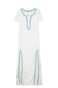 Majestic Maxi Kaftan Dress in White/Indigo + Seacrest
