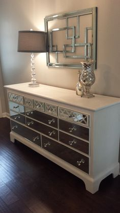 Mirrored Dresser White With Quatrefoil Overlay Without Mirror On The Tops And Sides Shabby Chic Annie Sloan Pure