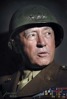 General George Smith Patton Jr. November 11, 1885 – December 21, 1945. Photograph by Margaret Bourke-White for 'Life' Magazine - 1945. (Colorized by Paul Kerestes from Romania)