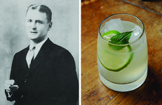 Mentioned only in passing in The Great Gatsby, the Gin Rickey is a perfect summer afternoon pick-me-up. It consists of gin, soda water and lime layered over ice and stirred. Drink while wearing a cool white dress and stealing glances at your lover.      1 1/2 oz gin     juice of 1/2 limes     carbonated water     1 lime wedge  Pour juice of lime and gin into a highball glass over ice cubes. Fill with carbonated water and stir. Add the wedge of lime and serve.