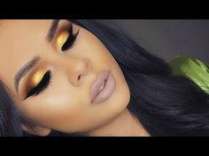 Vibrant Yellow Gold Eye Look + Nude Lips - YouTube