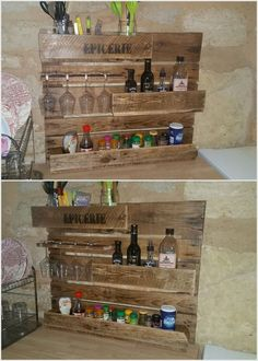 Most of the spice racks in the kitchen counters have the risk of being damaged or get crack with as they are designed with glass use into it. For this purpose, it would be vital enough to make the use of wood pallet in the spice rack styling. You can purposely use it for placing your wine glasses or important spice jars easily.