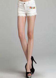 White Lace Trim Cotton Short  $31.52 Cotton Shorts, White Lace, Lace Trim, White Shorts, Gym Shorts Womens, Plus Size, Sexy, Fashion, Moda