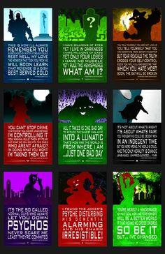 Justice League Quotes Set 5, Batman Villians & Rogues. Mr Freeze, Riddler, Scarecrow, Jason Todd, Red Hood, The Joker, Harvey Dent, Two-Face, Seline Kyle, Catwoman, Harley Quinn, Poison Ivy