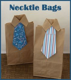 Learn how to make gift wrap bags for Father's Day!  These are so cute!