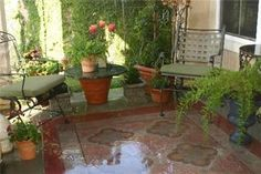 stained Concrete Backyard Ideas | stain concrete patio - front porch appeal! | Outdoors ideas