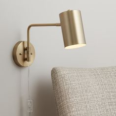 Carla Polished Brass Down-Light Swing Arm Wall Lamp - Lamps Plus Open Box Outlet Site Plug In Wall Lights, Bedside Wall Lights, Plug In Wall Sconce, Swing Arm Wall Lamps, Bedside Lighting, Wall Sconces, Bedroom Wall Lights, Hanging Lamps, Wall Mounted Bedside Lamp