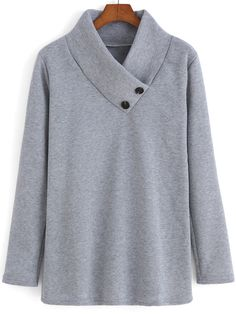 SheIn offers Grey Stand Collar Buttons Loose Sweatshirt & more to fit your fashionable needs. Designer Plus Size Clothing, Sewing Collars, Neckline Designs, Casual Outfits, Fashion Outfits, Shirt Refashion, Clothing Hacks, Sweatshirts Online, Fashion Sewing