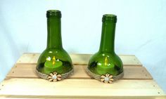 Recycled Wine Bottle Hurricane Toppers for Taper or Tealight Candles/Winery Vineyard Vino Bottle Tea Light Holders/Repurposed Wine Bottles