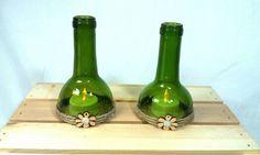 Recycled Wine Bottle Hurricane Toppers for Taper or Tealight Candles/Winery Vineyard Vino Bottle Tea Light Holders/Repurposed Wine Bottles