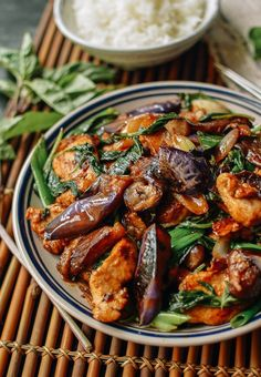 Thai Eggplant Stir-fry with Chicken and Basil ♥ The Woks of Life Eggplant With Garlic Sauce, Eggplant Stir Fry, Chicken Eggplant, Cooking Eggplant, Thai Basil Chicken, Eggplant Dishes, Thai Basil Eggplant Recipe, Cooking Wine, Kitchen