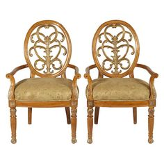 Set of two vintage Georgian-style shield-back arm chairs with subtly multicolored upholstery. Inspired by 18th century designs.   Pr...