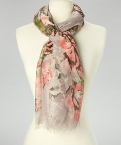 This Gray & Pink Floral Scarf by Raj Imports is perfect! #zulilyfinds