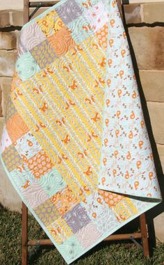 Fox Baby Quilt, Boy or Girl Blanket, Yellow Orange Mint Green Blue, Good Natured, Woodland Animals Forest Deer Birch Trees, Baby Bedding by SunnysideDesigns2