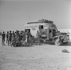 MPOWER/// A mobile tea canteen in the forward area - North Africa - 31 July 1942 Malta Italy, Afrika Corps, North African Campaign, British Armed Forces, Tiger Tank, British Government, British Army, Military History, Japan