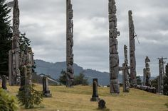 Weathered totem poles, Port McNeill, B.C. Canada