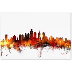 Trademark Fine Art Philadelphia Pennsylvania Skyline Iii Canvas Art by Michael Tompsett, Size: 22 x 32