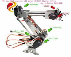 63.65$  Watch now - http://alizub.worldwells.pw/go.php?t=32611782055 - Official DOIT DoArm S6 6Dof Industrial Mechanical Robot Arm Model Stainless Steel Metal Robotic Manipulator DIY Vehicle Mounted  63.65$