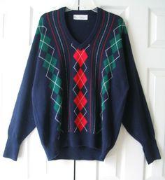 CLARK and GREGORY Scottish Golf V-neck Sweater 100% Merino Wool Hawick Mens L  #ClarkGregory #VNeck