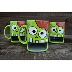 Nom Nom Nom Brains Whimsical Zombie Ceramic Cookies and Milk Dunk Mug... (42 CAD) ❤ liked on Polyvore featuring home, kitchen & dining, drinkware, dark olive, drink & barware, home & living, mugs, ceramic tea mug, ceramic mugs and tea mug