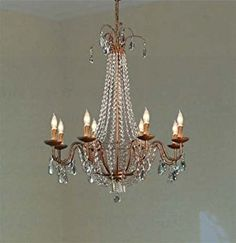 "$400.00 Swarovski Crystal Trimmed Chandelier! Empire Crystal Chandelier Chandeliers Lighting H38"" X W30"" light"