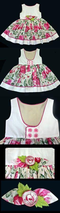 Vestido Infantil Floral - 4 anos . . . . . . . . . Floral Pink Dress 4 years . . . . . . . . . . Molde Grátis no Facebook - Free Pattern in Facebook. . . . . . . . . www.facebook.com/...