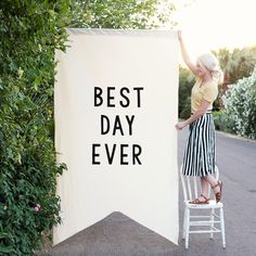 Our large over-sized Best Day Ever banner makes a statement at any event; weddings, receptions, birthdays, showers, parties, ect.  Afterwards, hang it in your home!   Hand cut black wool felt letters are sewn onto a sturdy ivory fabric.  Comes on a wooden dowel ready to hang.  Measurements: 3-3.5 yards long