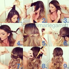 1) tease hair at the crown/top of your head 2) take a