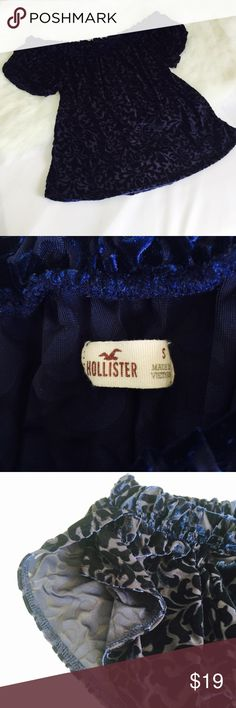Hollister Blue Velvet Off The Shoulder Blouse In good used condition. Bust measures 19 inches. Length is about 15 inches. Elastic on the top. No flaws. Hollister Tops Blouses
