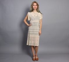 "vintage 60s-70s crochet ""apron"" dress for layering #boho"