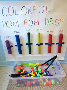 Pom pom color drop- great activity for teaching colors, and a fine motor activity. Tongs are great for tons of fine motor activities. Move to smaller tongs and objects as your child progresses. Infant Activities, Preschool Activities, Colour Activities For Toddlers, Toddler Fine Motor Activities, Activities For 3 Year Olds, Colors For Toddlers, 1 Year Old Games, Color Sorting For Toddlers, Easel Activities
