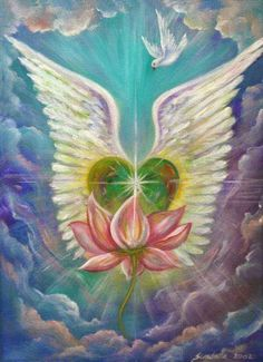 Heart with Wings Lotus Art Print Dove Lotus by ReawakeningTheSoul Lotus Kunst, Lotus Art, Angels Touch, I Believe In Angels, Heart With Wings, A Course In Miracles, Heart Painting, Angels Among Us, Angel Cards
