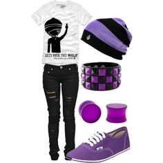 A fashion look from November 2012 featuring ripped skinny jeans, sperry top-sider shoes and punk jewelry. Browse and shop related looks. Nerd Outfits, Rock Outfits, Cute Outfits, Kawaii Clothes, Ninja, Pokemon, Shoe Bag, Purple, My Style